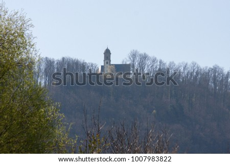 eastern spring awakening of rural countryside cottage area in south germany near city stuttgart and munich #1007983822