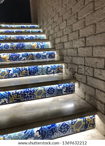 eastern staircase, home decor in oriental style, oriental pattern