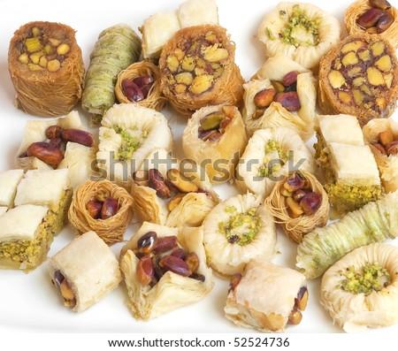 Eastern sweets variety: baklava, mamoul, barazek, sharhat and u'sh
