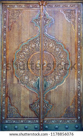 eastern wooden door with ornament. Islamic ornament #1178856076