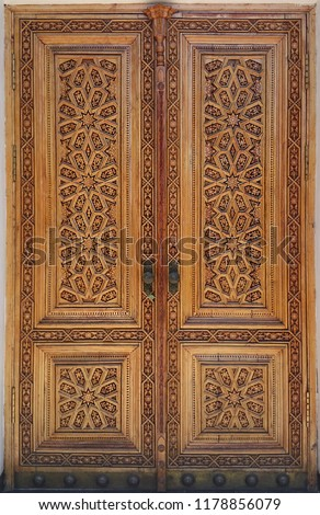 eastern wooden door with ornament. Islamic ornament #1178856079