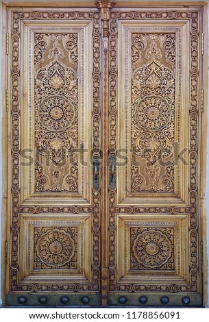 eastern wooden door with ornament. Islamic ornament #1178856091