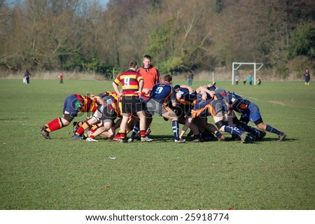 EASTLEIGH, DORSET FEB 21: A rugby scrum formation in action during a rugby match between Eastleigh and East Dorset in Eastleigh, Dorset, England February 21, 2009.