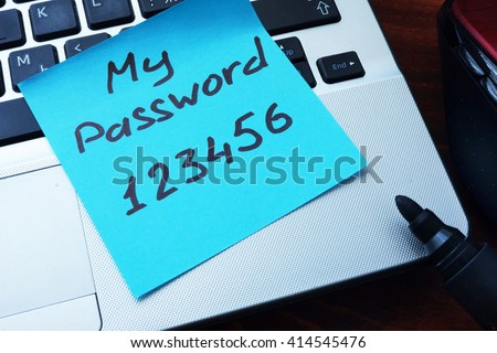 Easy Password concept.  My password 123456 written on a paper with marker. Stock photo ©