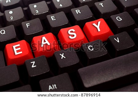 easy red button word on black keyboard