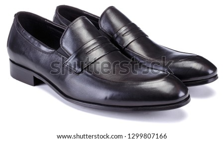 Easy slip-on construction man shoe. Black loafers with leather upper #1299807166