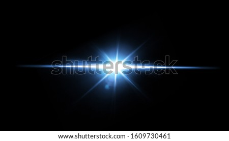 Photo of  Easy to add lens flare effects for overlay designs or screen blending mode to make high-quality images. Abstract sun burst, digital flare, iridescent glare over black background.