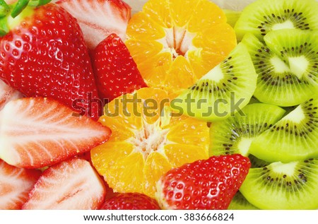Eat a Colorful Variety of Fruits every Day for Better Health. colorful of sliced fruits. #383666824