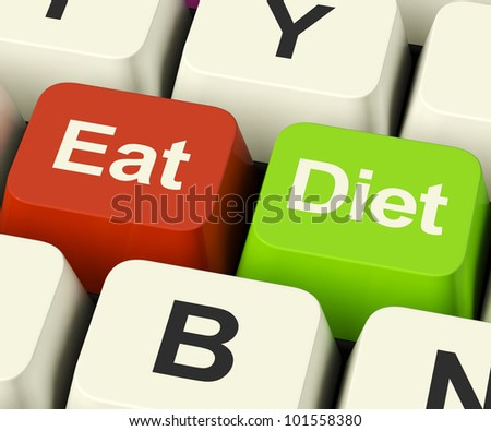 Eat Diet Keys Showing Fiber Exercise Fat And Calorie Advice Online