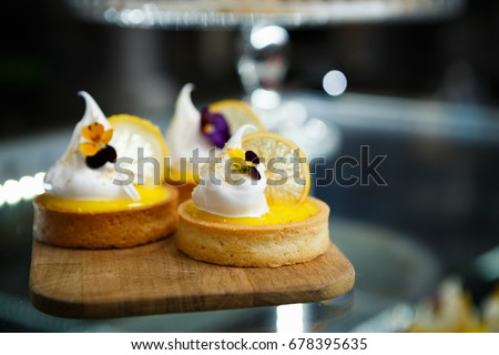 Eat sweet dessert food in cafe menu.Pastry products close up.Delicious menu item in restaurant.Enjoy fresh baked biscuits with coffee on lunch.Italian cup cakes in restaurant