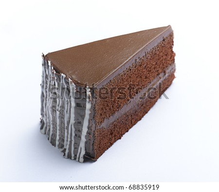Eatable coffee cake with icing on isolated on background