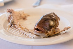 eaten fish with head and tail - symbol of misery