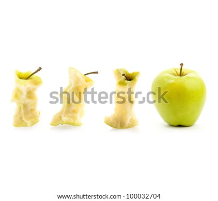 eaten green apple stages on a white background