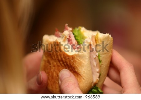 Eating a Sandwich - stock photo