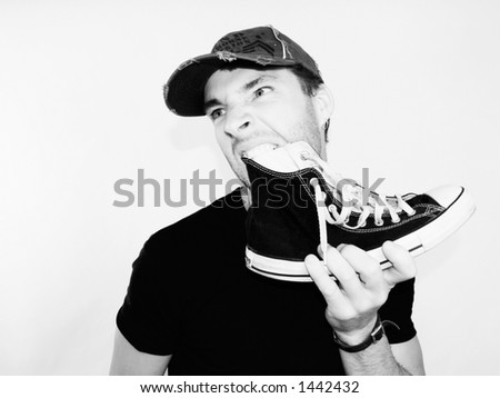 the eating shoe We've all heard about people who've been forced to eat their shoes, or at least about the concept of eating shoes but has anyone actually done it.