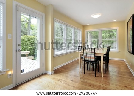 Eating area of kitchen with patio view
