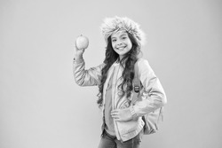 Eating natural food. Lunch time. Winter semester. Teen with backpack. Healthy snack. Modern education. Stylish schoolgirl. Girl little smiling schoolgirl hold apple fruit. Schoolgirl happy daily life