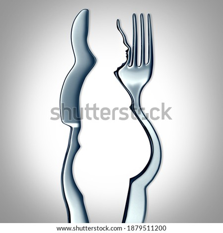 Eating too much and weight gain or obesity concept as a fork and knife shaped as an obese person with a food disorder or overeating fat unhealthy man as a 3D render. Photo stock ©