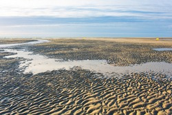 Ebb tide in Merlimont-Plage, Atlantic ocean in France