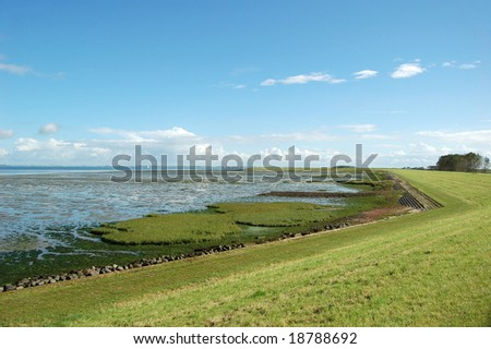 Ebb tide with pretty landscape with salt marsh and dutch dike to protect the land below sea level against floods