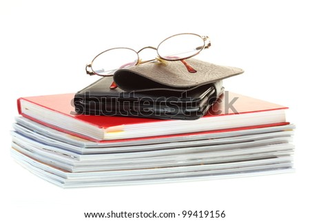 eBook reader pile of books, isolated on white