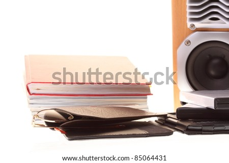 eBook reader pile of books, isolated on white multimedia black audio speaker
