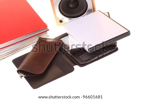 eBook reader pile of books, isolated on white multimedia black audio speaker