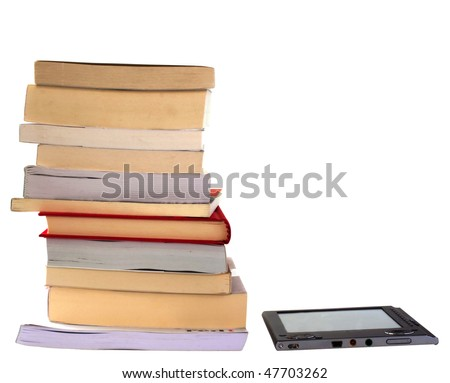 eBook reader side by side with big pile of books, isolated on white