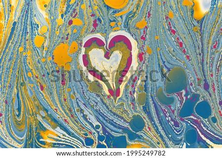 Ebru marbling background with heart shape. Unique art Liquid Stok fotoğraf ©