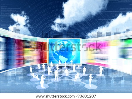 ebusiness concept with people doing business in internet virtual world