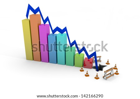 Ecconomic Crash - profits down - stock photo