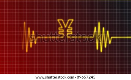 ecg curve with yen symbol