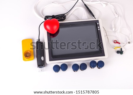 ECG monitoring, monitoring with a spirometer and a dermatoscope, telemedicine concept #1515787805