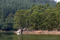 Echo Point on the Mattupetty Lake, formed from the dam of the same name, in the southern Indian state of Kerala.  Surprisingly perhaps, calls from the lake shore are echoed back by the tree terrain.