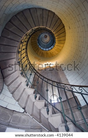 Eckmuhl lighthouse staircase, france brittany