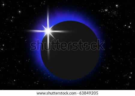 eclipse lighting ring in dark sky