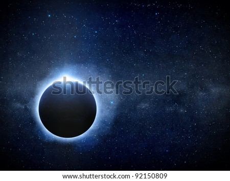 Eclipse moon over sun