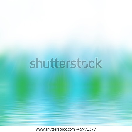 Eco abstract blue green background with water. White space above suitable for text or editing.