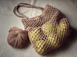 Eco bag is crocheted of natural hemp thread.