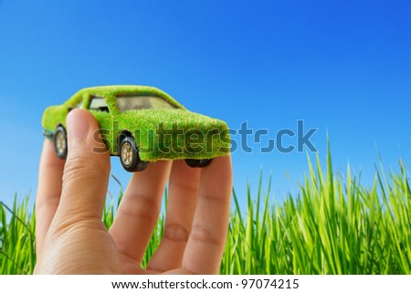 Eco car icon concept