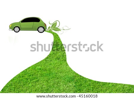 eco car on white background with grass track behind it