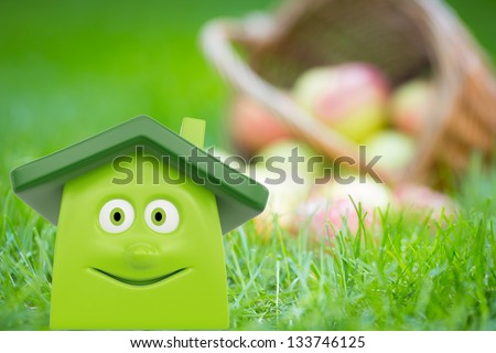 Eco cartoon house on green grass against basket of apples. Ecology concept