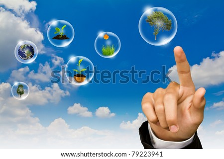 Eco concept : Business hand point tree, earth and  flower in bubbles against the sun and the blue sky
