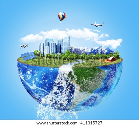 Eco concept. City of future. Solar energy town, wind energy. Save the planet concept. Earth Day.