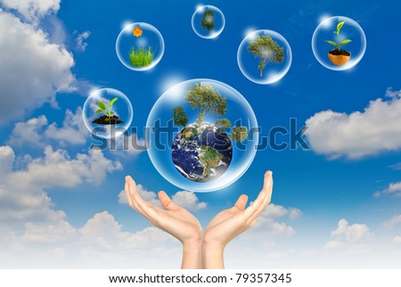 Eco concept : Hand hold earth ,tree  and flower in bubbles against the sun and the blue sky