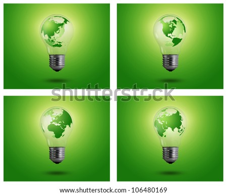 eco concept: light bulbs with map of world inside, Asian, Africa