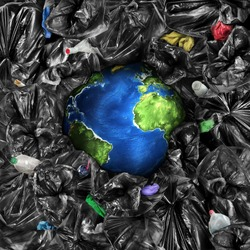 Eco concept. The planet is drowning in the garbage. Recycling. Save the planet.