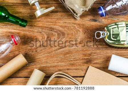 Eco concept with recycling symbol on table background top view? Environmental protection plan #781192888