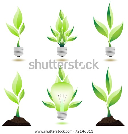Eco design. Growing plant. Icons isolated on white