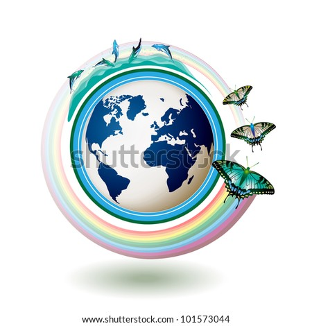Eco Earth, green and blue with butterflies on white background